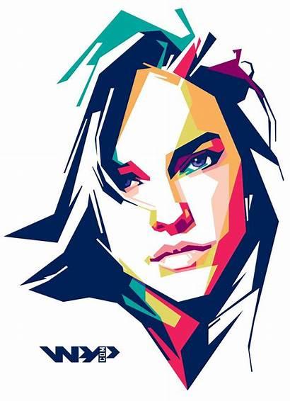 Pop Portrait Geometric Illustration Behance Vector Face