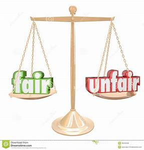 Fair Vs Unfair Words Scale Balance Justice Injustice Stock ...