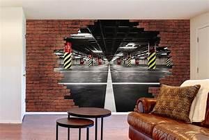 Papier Peint Trompe L Oeil Brique : papier peint trompe l oeil chambre kirafes ~ Premium-room.com Idées de Décoration