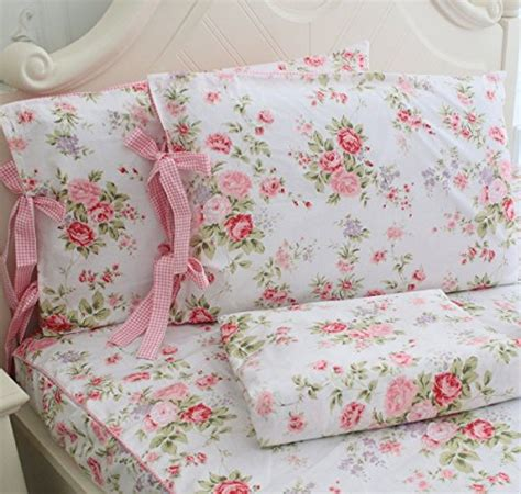 fadfay cotton bed sheets set shabby rose floral print
