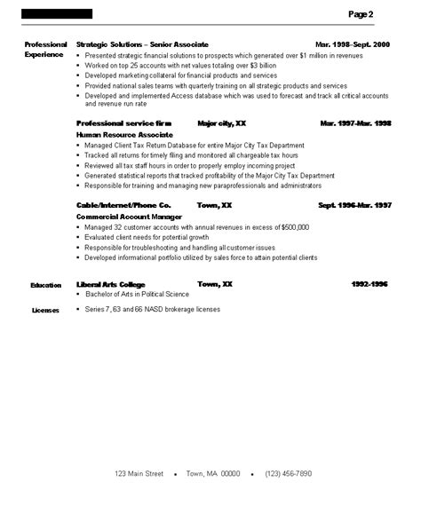 financial services professional resume page 2 boston