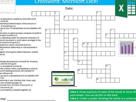 microsoft excel crossword puzzle ict computing starter