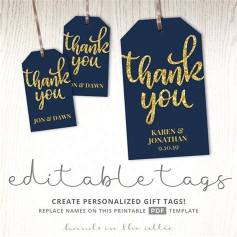 Wedding Favor Labels Template by Thank You Tags Gift Labels Navy And Gold Wedding Favor