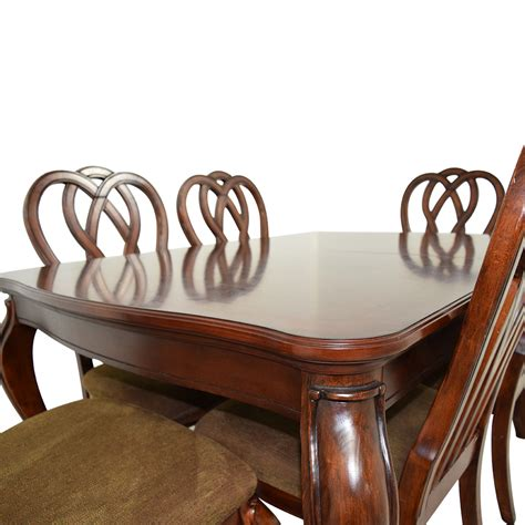 wood dining table with upholstered chairs 66 off wood dining table with six upholstered chairs