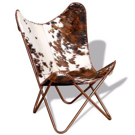 acheter vidaxl chaise papillon cuir veritable de vache