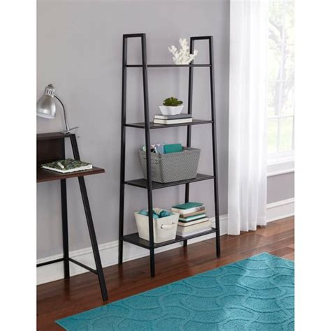 walmart black bookshelf mainstays 4 tier metal bookshelf black walmart