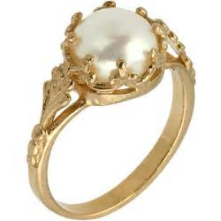 pearl engagement rings gold freshwater cultured pearl engagement ring in 14k r polyvore