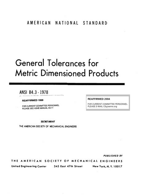 ANSI B4.3-1978 General Tolerances for Metric Dimensioned