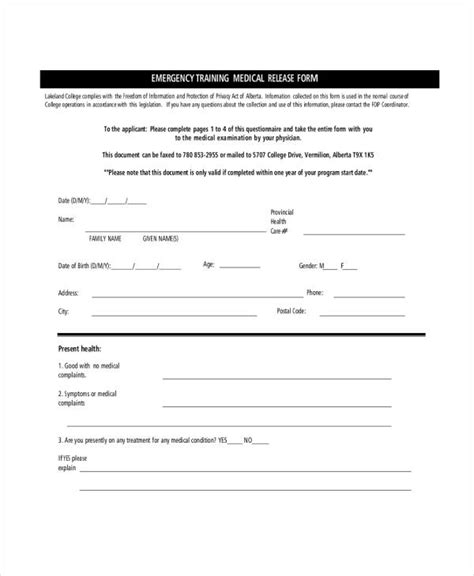 18606 emergency release form 33 release forms in pdf
