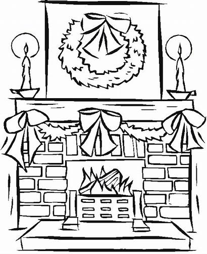 Fireplace Christmas Coloring Pages Drawing Window Fireplaces