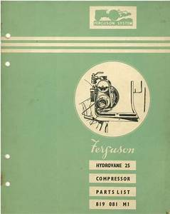 Ferguson Hydrovane 25 Compressor Parts Manual