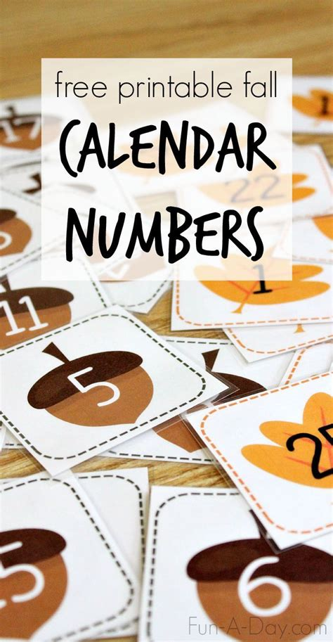 printable calendar numbers  fall homeschool