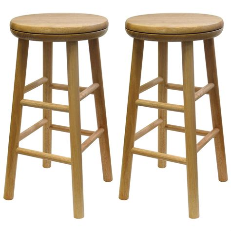 24 Stools For The Kitchen by Winsome Beechwood 24 Quot Swivel Stools Set Of 2 151043