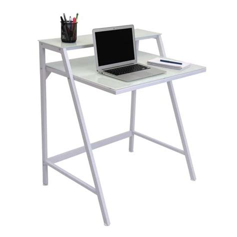 frosted glass desk top lumisource 2 tier frosted glass computer desk white ofd tm