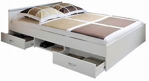 Lit Tiroir 140 : lit tiroirs blanc aldo 140 ~ Teatrodelosmanantiales.com Idées de Décoration