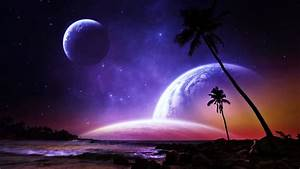 Planets palms fantasy dreams colorful beaches space stars ...