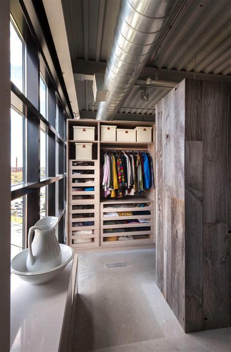 stylish industrial closet ideas   loft
