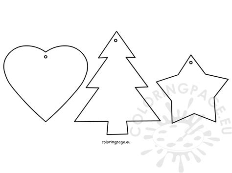 christmas tree ornaments star heart tree coloring page
