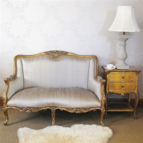 Loveseat Settee by Versailles Gold Bedroom Sofa With Silk Upholstery