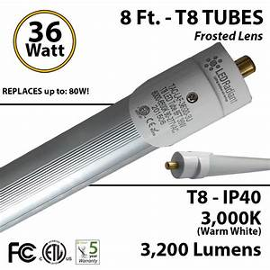 8ft Led Tubes 36w T8 3200lm 3000k Frosted Ip40 Fluorescent