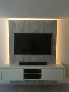 Wohnzimmer Tv Wand Ideen : tv wand in gelungener kombination angesagte betonoptik ~ A.2002-acura-tl-radio.info Haus und Dekorationen