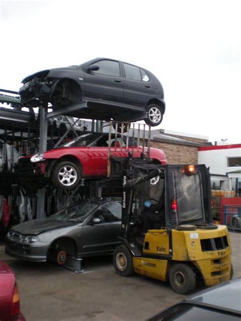 car storage rack used for cars at viking auto dismantlers