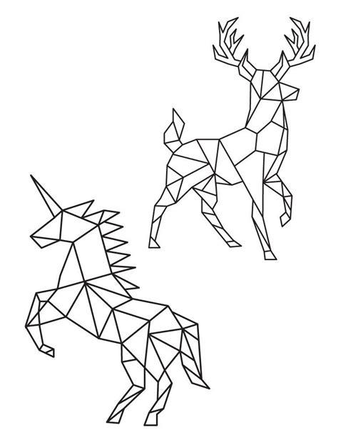 cerf  licorne  colorier image polygonale pour imprimer