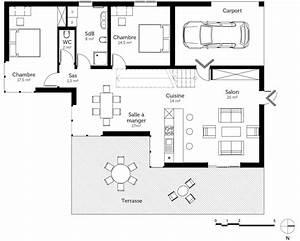 plan maison a toit plat avec 4 chambres ooreka With plan maison toit plat 120m2