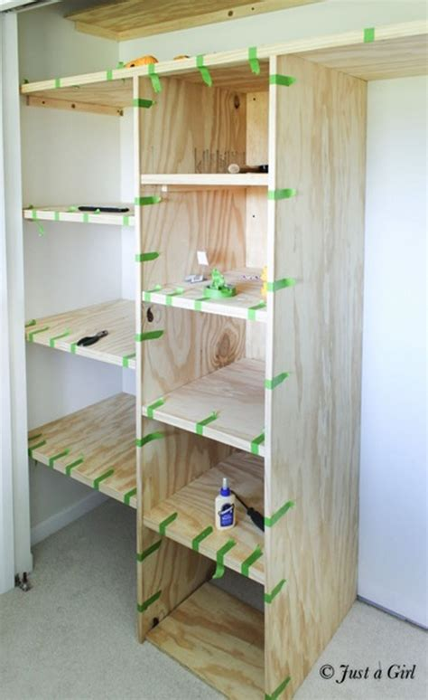 easy  affordable diy wood closet shelves ideas  diy
