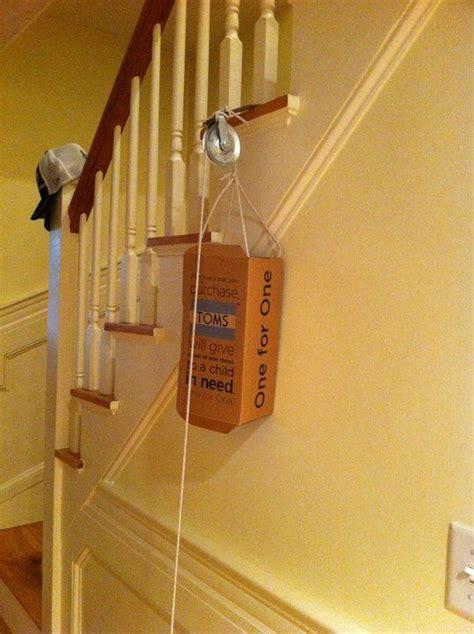 elevator   shoe box  rope