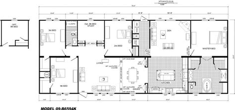 kitchen family room floor plans 4 bedroom floor plan b 6594 hawks homes manufactured modular conway rock arkansas