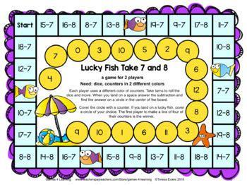 ocean animals subtraction board games subtraction games