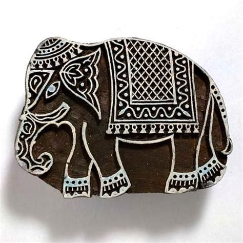 decorated jaipur elephant wooden stamp  images
