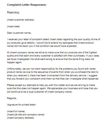 complaint response letters brittney taylor