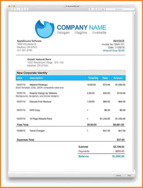 7 invoice templates for mac free invoice letter