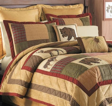 cabin bedding big sky king quilt set lodge cabin deer moose