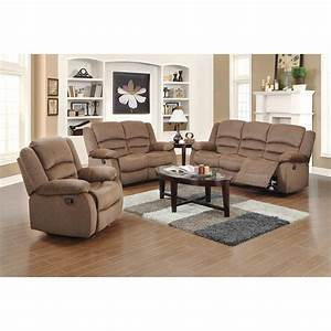 Ellis contemporary microfiber 3 piece living room set for Microfiber living room furniture