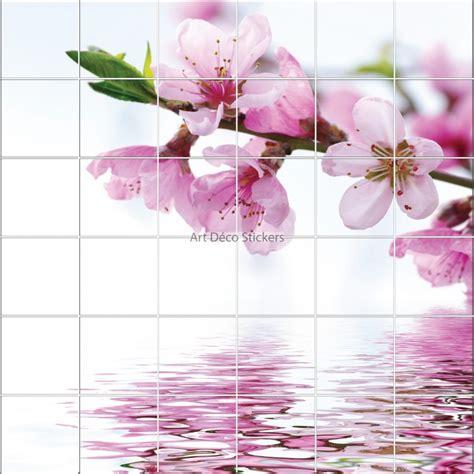 carrelage autocollant cuisine stickers carrelage mural déco fleurs de cerisier