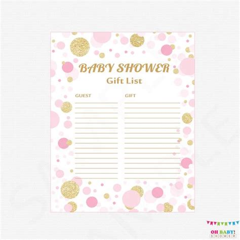Free printable baby shower games. Pink and Gold Baby Shower Gift List Printable Gift List Baby