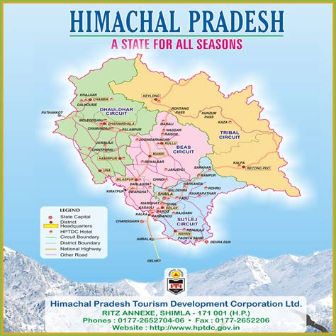 himachal tourist road map  places distances  major