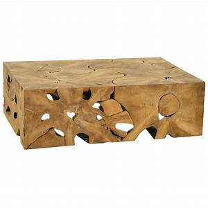 Dovetail block teak root coffee table candelabra inc for Teak block coffee table