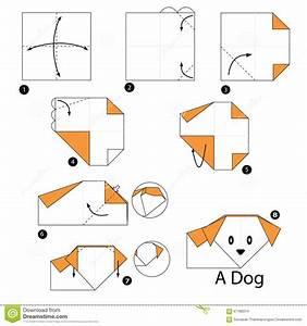 Faire Des Origami : instructions tape par tape comment faire origami un chien illustration de vecteur image ~ Nature-et-papiers.com Idées de Décoration