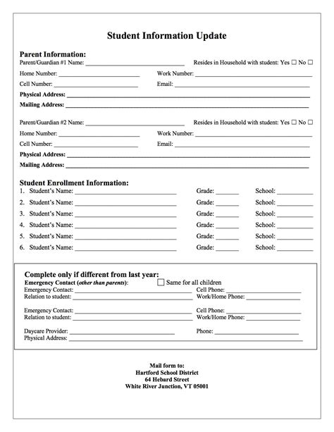 update contact information form template registration forms hartford school district