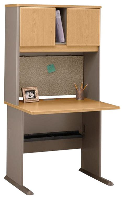 light oak computer desk bush series a 36 quot wood computer desk with hutch in light