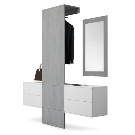 Garderobe Carlton Set 3 Beton Oxid, Spiegel Beton