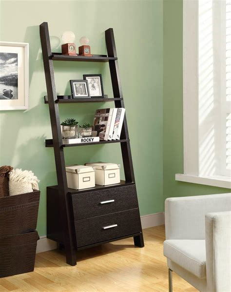 Leaning Bookcase With Drawers by Wooden Black Ash 3 Shelf Leaning Ladder Bookshelf With
