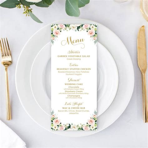 personalized menu dinner menu table menu card