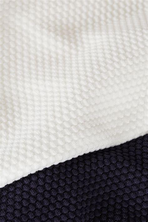topshop cream scallop texture swimsuit  blue lyst