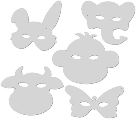 tiermasken aus weisser pappe  versch designs sortiert