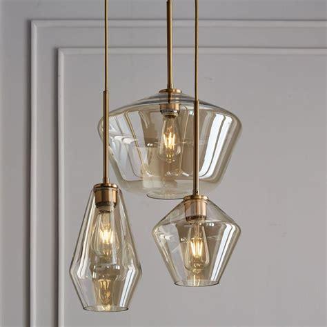 Pendant Sconce Lighting - sculptural glass geo 3 light chandelier mixed chagne